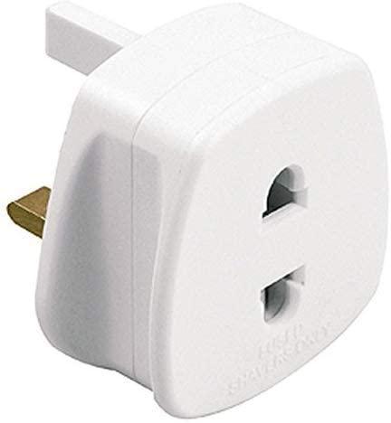 White UK 2 Pin To 3 Pin 1A Fuse Adaptor Plug