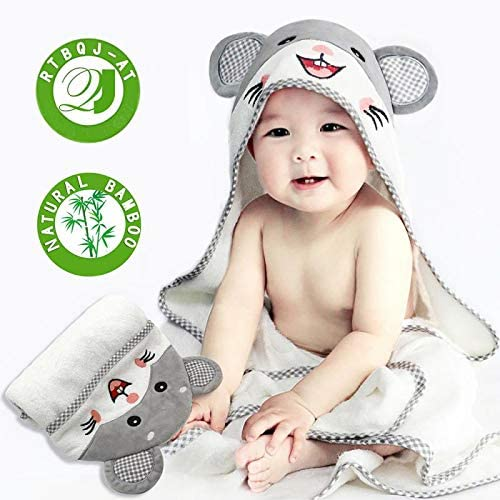 RTBQJ-AT Hooded Baby Towel Set Organic Bamboo Baby Bath Towels