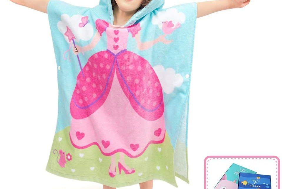 Florica Kid Cotton Poncho Hooded Bath Towel Wrap Bathrobe Swim Beach Wear Soft Quick Dry Cartoon for Girls Boys