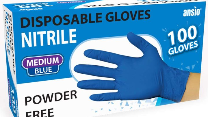 ANSIO 3157 Nitrile Gloves Blue Powder Free & Disposable Medium Pack of 100