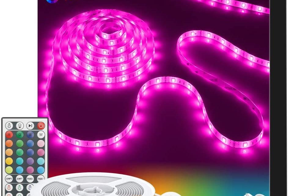 LED Strip Lights, Govee 32.8ft RGB Colored Rope Light Strip Kit with Remote and Control Box for Room, Ceiling, Bedroom, Cupboard Lighting with Bright 5050