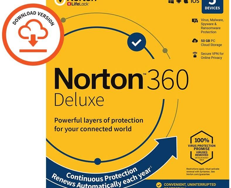Norton 360 Deluxe 2020, Antivirus software for 5 Devices and 1-year