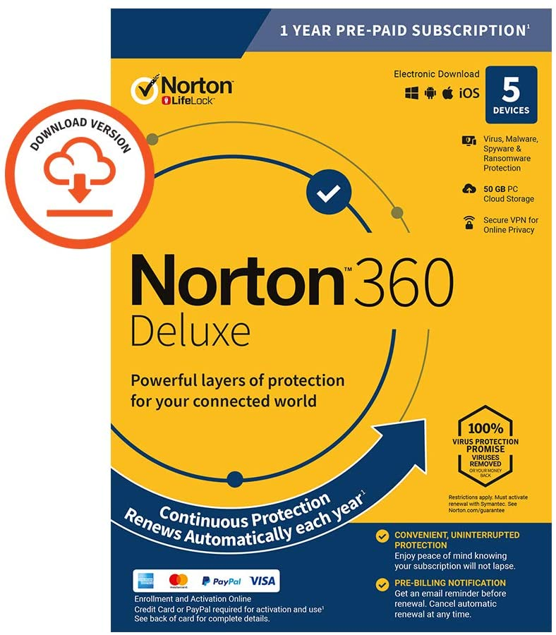 Norton 360 Deluxe 2020, Antivirus Software For 5 Devices