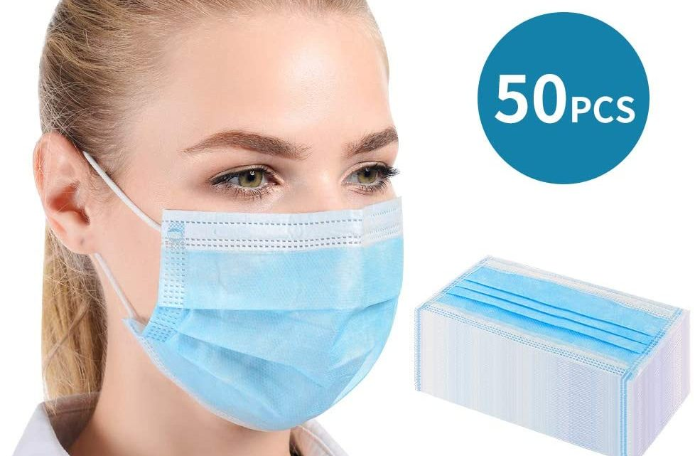 Disposable Filter Non-woven Filter Anti-bacteria 3-layer Mouth Filter with 99.99% Filtration, 50 Pcs, Blue