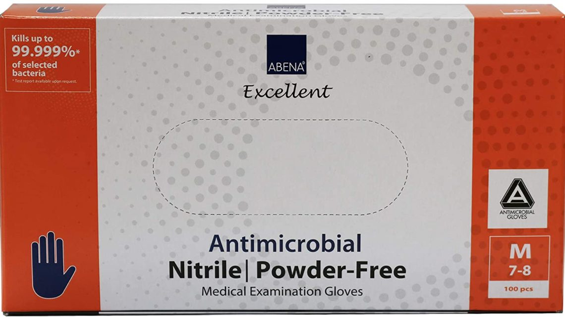 Abena Antimicrobial Nitrile Examination Gloves, Medium, 100 Count