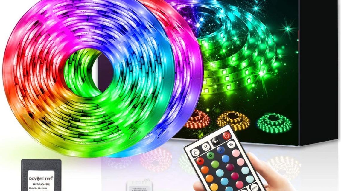 DAYBETTER Led Strip Lights 32.8ft Waterproof Flexible Tape Lights Color Changing 5050 RGB 300 LEDs Light Strips Kit with 44 Keys IR Remote Controller