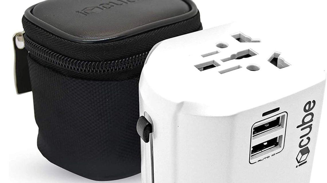 iBlockCube® Worldwide Travel Adapter, International Power Plug Universal AC Socket with Dual USB 2.4A