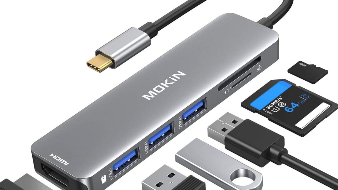 USB C Hub Adapter 4K @60Hz, MacBook Pro Adapter Mac Dongle,USB-C to HDMI, Sd/TF and 3 USB 3.0 Port