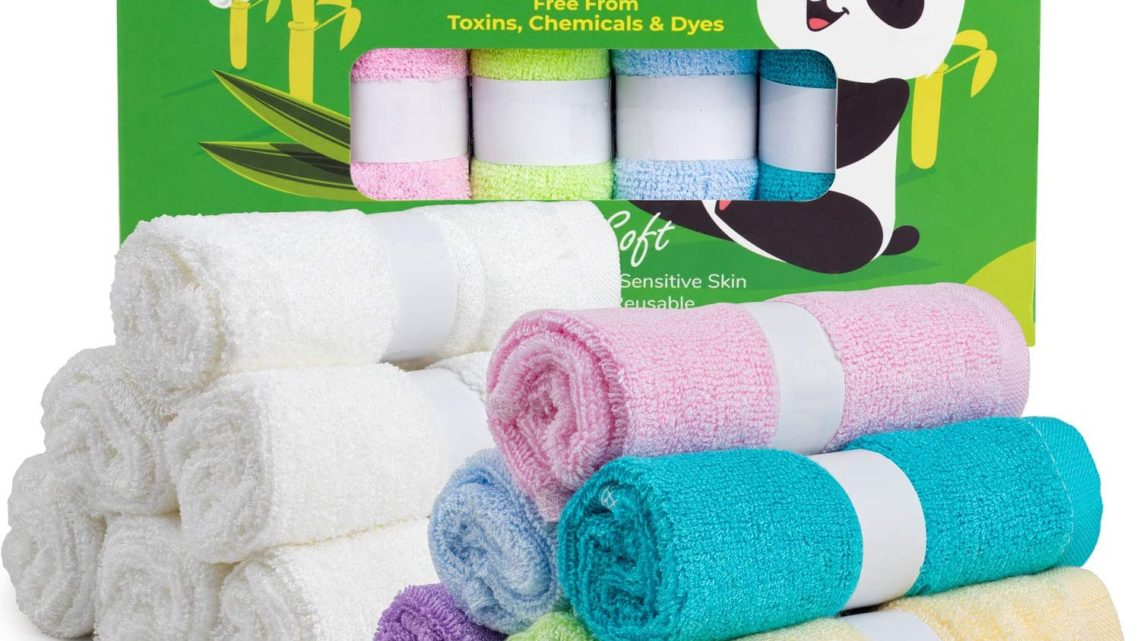 Spring Rose 12 Bamboo Baby Washcloths - Natural, Organic Facial Towel for Adults, Babies