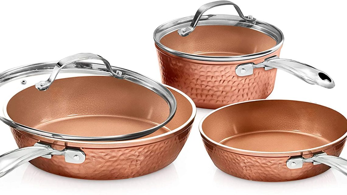 Gotham Steel Premium Hammered Cookware – 5 Piece Ceramic Cookware, Pots and Pan Set with Triple Coated Nonstick Copper Surface & Aluminum