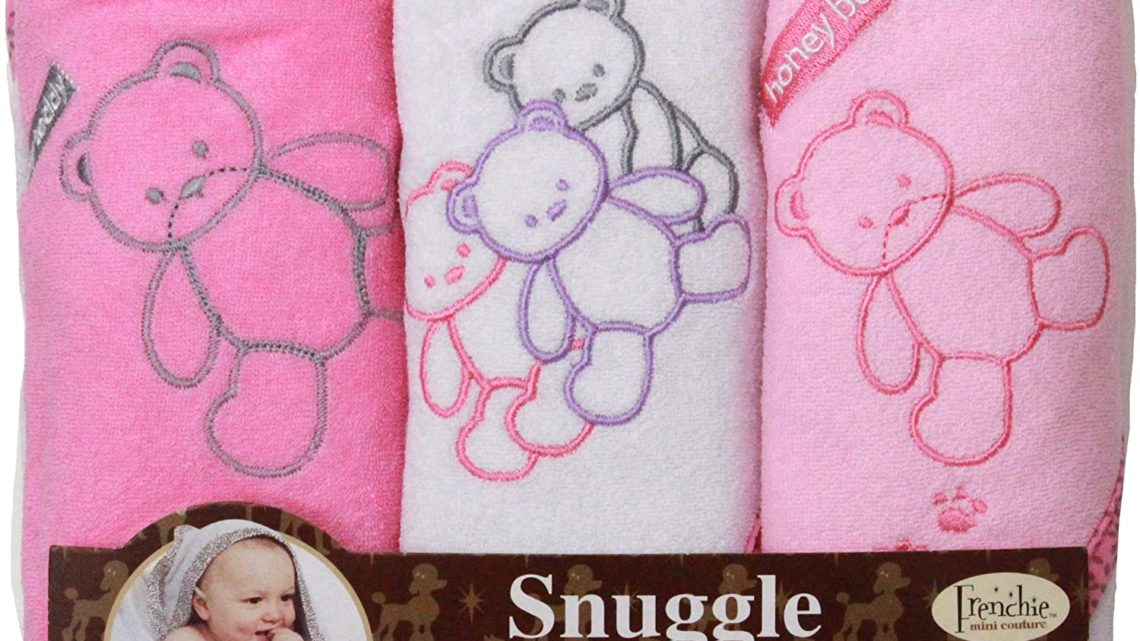 Teddy Bear Hooded Bath Towel Set, 3 Pack, Girl, 76 x 71 cm, Frenchie Mini Couture