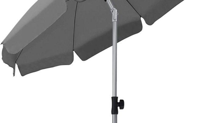 MVPower Garden Parasol 2m*2.25m, Steel Tilting Patio Sun Shade&Umbrella, UPF50+, for Outdoor, Balcony and Backyard(Round,Grey)