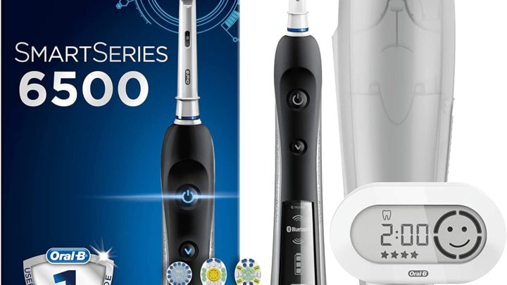 Oral-B SmartSeries Black 6500 CrossAction Electric Toothbrush, 1 App Connected Handle, 5 Modes with Whitening & Gum Care, Pressure Sensor, 4 Brush Heads...